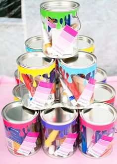 What fun favors at an Art Party!   See more party ideas at CatchMyParty.com!  #partyideas #art