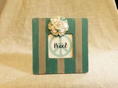 Find Your Peace © Vintage, Striped Frame with Flower Accent