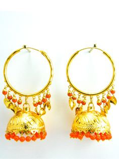 Desi Jhumka earrings with Gold leaves and Orange beads