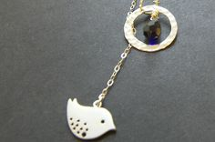 Silver Lariat Bird Necklace Sterling Silver by WishesontheWind, $30.00