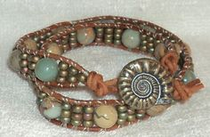 7 to 7.5 inch African Opal Jasper and Miyuki seed bead double wrap bracelet
