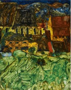 Egon Schiele - Meadow, church and houses, 1912 #arte
