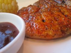 Puerto Rican Grilled Pork Chops with Sparkling Barbecue Sauce