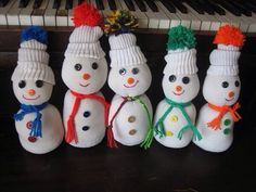 Sock snowmen made from socks and filled with rice. cute idea. :)