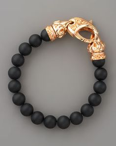 Black Onyx Spiritual Beaded Bracelet for Men with Sculpted Rose Gold Hardware