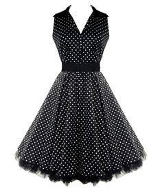 """Pretty stretch cotton 50's dress with V-neck and collar detail. Cotton underskirt edged with black netting. Invisible zip to side. Black satin belt to clench in waist.    Can be worn with a Hell Bunny 25"""" length petticoat to make the dress fuller (as per main picture).  Petticoat is not included with the dress but available to purchase separately in our shop.  Machine washable (do not tumble dry)   MATERIAL: 97% Cotton 3% Elastane"""