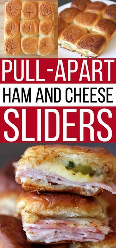These are delicious and so easy to make! Pull apart ham and cheese sliders on sweet rolls! King's Hawaiian Sweet Rolls Are The Best And Here's Why Hawaiian Sweet Rolls, Hawaiian Roll Sliders, Kings Hawaiian Sandwiches, Picnic Foods, Picnic Recipes, Le Diner, Football Food, Football Parties, Appetizer Recipes