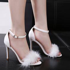 bd6d37f43f2b63 Women Summer Shoes Gladiator High Heel Sandals 2017 Fashion Fur Thin Heels  Sandlias Women Sandals Sexy