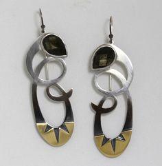 Tension & Release Earrings. Golden sheen obsidian, oxidized sterling, brass.
