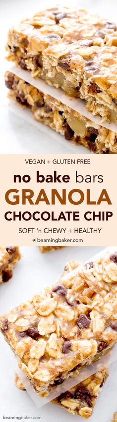 No Bake Chewy Chocolate Chip Granola Bars (V+GF) -- the perfect protein-rich, on-the-go snack that's super easy to make, full of simple ingredients and delicious. and : BeamingBaker Gluten Free Baking, Vegan Baking, Gluten Free Desserts, Vegan Desserts, Gluten Free Recipes, Vegan Gluten Free, Granola Barre, Chocolate Chip Granola Bars, Vegan Granola Bars