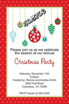 Tree Ornaments Christmas Party Invitations - Get these cards RIGHT NOW. Design yourself online, download and print IMMEDIATELY! Or choose my printing services. No software download is required. Free to try!