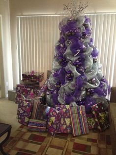 christmas tree decorating with purple deco mesh - Purple Christmas Tree