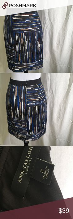 Ann Taylor Blue and Black Skirt Cute skirt features wide elastic waist band with zippered back. Fully lined. Dry clean. Waist 14 Length 21. Ann Taylor Skirts