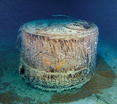 One of the large boilers found in the wreckage of the ship. This is actually the first thing that was found by Robert Ballard in his 1985 expedition. The boiler was identified as being identical to pictures from 1911, and the next day Ballard discovered the largest part of the wreck using his Argo technology.