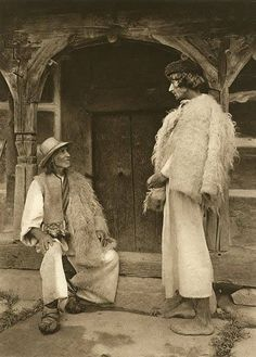 Romanian, I think, men's costume. Wooly Bully, Popular Costumes, Ghost House, Winter's Tale, Folk Embroidery, Antique Quilts, Folk Costume, Old Photos, Folk Art