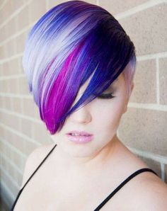 Short Blue and Purple color ‪hair‬, charming~~