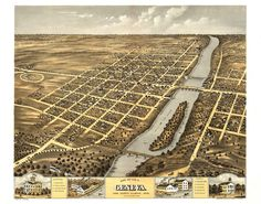 Geneva IL Panoramic Map dated 1869. This print is a wonderful wall decoration for Den, Office, Man Cave or any wall. by Blossomprintsandmore on Etsy