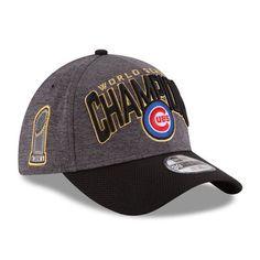 63fbd2a4235 Men s Chicago Cubs New Era Graphite Black 2016 World Series Champions  Locker Room On Field 39THIRTY Flex Hat