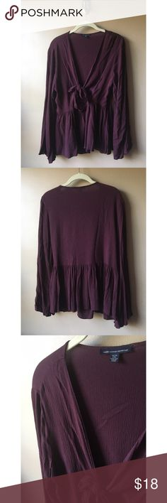 Maroon AE Blouse Like new, worn once. Ties in front, bell sleeves American Eagle Outfitters Tops Blouses