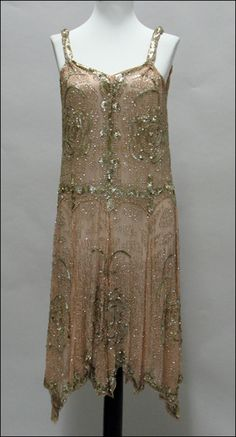 BEADED SILK DRESS. Circa 1920