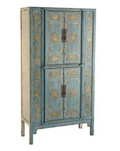 "Aqua ""Double Lotus"" Cabinet - Horchow"