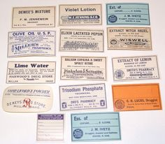 Lot of 14 Vintage Apothecary Labels Pharmacy for scrapbooking collage altered art crafts by scrapitsideways, $4.20