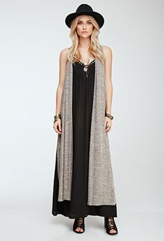 Beige Brown Sleeveless Open Front Maxi Longline Cardigan Sweater | FOREVER21 - 2049257532 $25