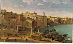 1730 Il Porto di Ripetta visto dall'edificio della Dogana. Di fronte la facciata della Chiesa di San Gregorio dei muratori. By Hendrick Frans Van lint.