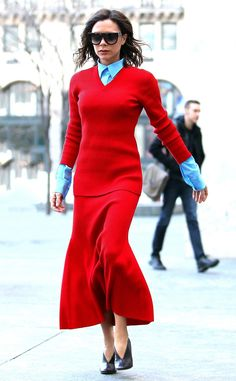 Victoria Beckham from The Big Picture: Today's Hot Photos Runway ready! The fashion guru wears a chic red ensemble in New York City.