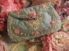 Embroidery Silk Ribbon I ❤ crazy quilting, beading Crazy Quilting, Crazy Patchwork, Silk Ribbon Embroidery, Hand Embroidery, Embroidery Designs, Embroidery Stitches, Beaded Purses, Beaded Bags, Vintage Purses