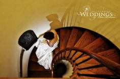 Artistic bride with her shadow on stairs at Casa Feliz in Winter Park, Florida