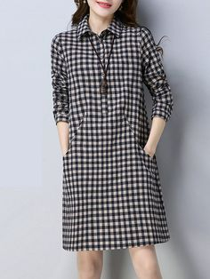 Turn Down Collar Plaid Cotton/Linen Shift Dress – Mod and Retro Clothing