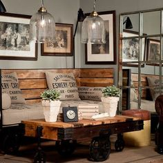 diy rustic industrial seating & Industrial chic room design via Pure Home Source by acecae The post Fifteen Ideas For Decorating Rustic Chic & Rustic Crafts & Chic Decor appeared first on George Garden Services. Industrial Design Furniture, Vintage Industrial Decor, Furniture Design, Industrial Living, Palette Furniture, Kitchen Industrial, Rustic Decor, Rustic Style, Modern Rustic