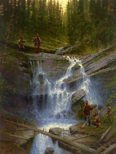Doug Hall's Huckleberry Forest Studio - Gathering at the Falls, Sold (http://www.doughallart.com/gathering-at-the-falls/)