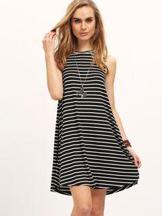 ärmelloses Kleid mit Streifen-schwarz und weiß