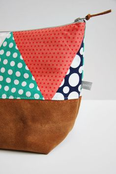 Polka Dot-Pouch with leather trim by Knitty Bitties