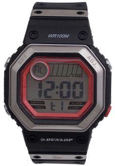 Men's Digital with Rubber Strap - Dunlop Watch Cool Watches, Watches For Men, Casio Watch, Digital Watch, Designing Women, Branding Design, Sporty, Silver, Stuff To Buy