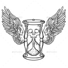 Decorative Antique Death Hourglass Illustration by vavavka Decorative antique death hourglass illustration with wings and skull. Hand drawn tarot card. Sketch for tattoo, hipster t-shirt de