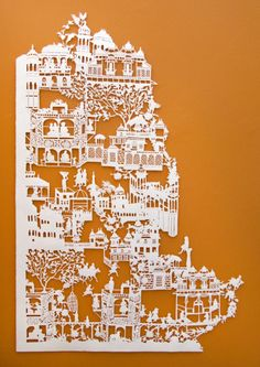 Emma van Leest is a paper artist from Australia. In her series  Before the First Rain (2009), Emma uses only white paper cut outs in on an orange background. Emma finds her inspiration for the cut-outs in Chinese architecture and botanical prints.
