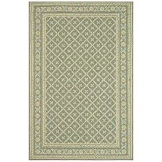 Hand-hooked wool rug with a green and ivory floral motif.   Product: RugConstruction Material: WoolColor: Green and ivoryFeatures:  Hand-hooked Will enhance any setting Note: Please be aware that actual colors may vary from those shown on your screen. Accent rugs may also not show the entire pattern that the corresponding area rugs have.Cleaning and Care: Professonal cleaning recommended