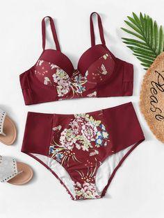 8df2003598 Shein Plus Random Floral Top With High Waist Bikini