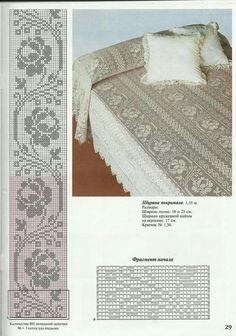 Best 12 Rose afghan – Filet crochet in aran color – SkillOfKing. Filet Crochet Charts, Crochet Borders, Crochet Diagram, Crochet Motif, Crochet Designs, Crochet Doilies, Crochet Patterns, Knitting Patterns, Crochet Bedspread Pattern