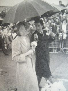 28 OCTOBER 1981 Prince Charles, Prince of Wales, and Diana, Princess of Wales, make their first official visit to Wales St David's Cathedral in Pembrokeshire,Diana is wearing a tweed coat by Caroline Charles and a John Boyd hat.