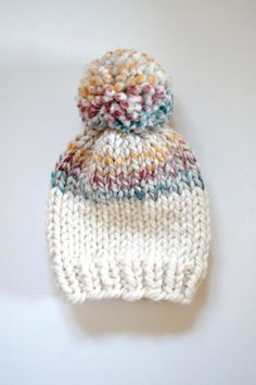 Knitted Kids Beanie // Color Block Baby Hat // by StarSeventeen