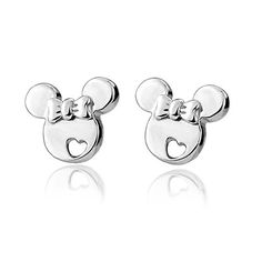 1Pair 2016 New Sterling Silver Studs Earrings, Cute Mouse With Bowknot Ear Jewelry Korean Style For Women Girls Kids Gift
