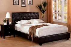 Concord Espresso Finish Leatherette Platform Eastern King Bed is great for master bedroom with button-tufted leatherette headboard and leatherette foot board which is made of solid wood and veneer with bonded leather.