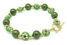 AM5885 Unique Millefiori Style Green Glass Bead Bracelet by Dragonheart - 20cm Dragonheart. $25.00
