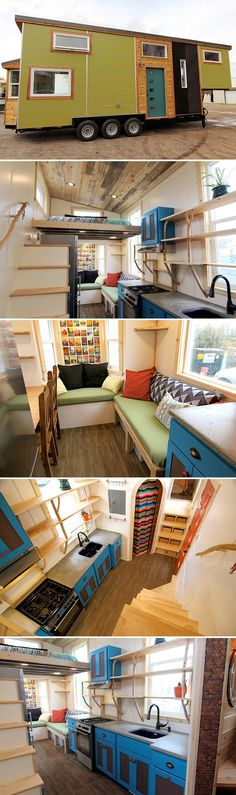 This one-of-a-kind gooseneck tiny house was built by MitchCraft Tiny Homes using custom fabricated panels and shou sugi ban cedar chevron siding. Small Tiny House, Micro House, Tiny House Living, Tiny House Plans, Tiny House On Wheels, Tiny House Design, Small Living, Design Exterior, Tiny House Nation