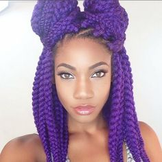 joyvivre purple twists chunky twists box braids double bun black girl with c joyvivre purple twists chunky twists box braids double bun black girl with colored hair colorful hair purple hair Braided Hairstyles Updo, Crochet Braids Hairstyles, My Hairstyle, Braided Updo, Medium Hairstyle, Protective Hairstyles, Hairstyle Ideas, Afro, Divas