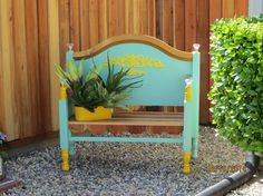 Bench Made From Old Found Bed Frame. - Found the old bed frame, cleaned it up and new paint, a little added extras and there you have it one cute garden bench !…